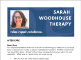 A picture showing the after care advice offered by Sarah Woodhouse Therapy