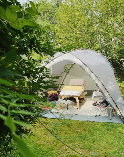 Therapy tent in a beautiful garden setting